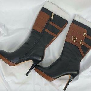 Cole Haan Carolyn Boot Equestrian Black/Brown 9